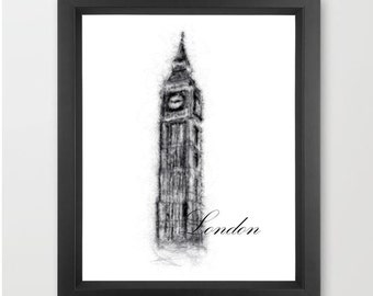 Big Ben, London INSTANT DOWNLOAD, modern, travel, world architecture, clock tower - Home Decor Print