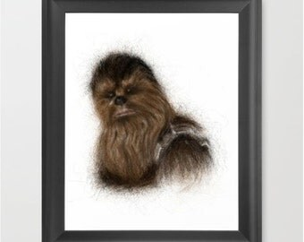 Chewbacca INSTANT DOWNLOAD, Star Wars, geeky art, children decor, theater room, gift, digital download print, art, birthday gift, present