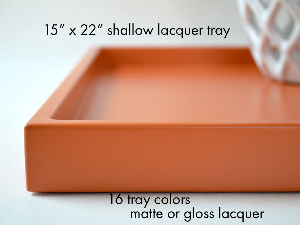 15 x 22 shallow lacquer coffee table tray wedding gift bar for Shallow coffee table