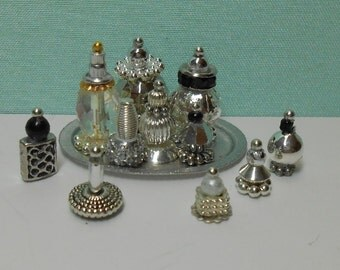 1:12 scale silver perfume and nail polish bottles on silver metal tray