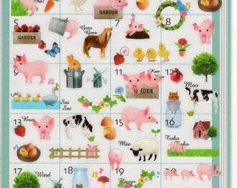 Japan  Kawaii Petit Life Stickers sheet FARM ANIMALS/schedule,diary