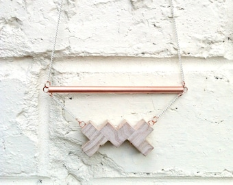 Copper and Recycled Wood Necklace