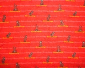 36 x 33 Inche Red Curious George Flannel Fabric Remnant