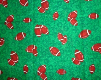 Green Football Cotton Fabric by the Yard
