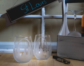 St. Louis Missouri al Skyline silueta contorno de copas de vino o Stemless copas de vino