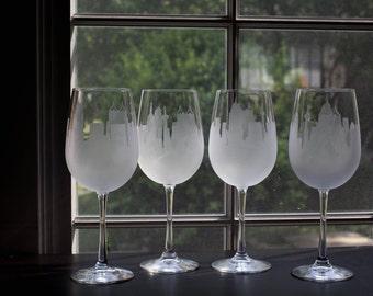 Etched San Antonio Texas Skyline Silhouette Wine Glasses or Stemless Wine Glasses