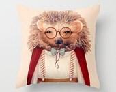 Hedgehog Throw Pillow, Decorative Pillow, Animal Pillow, Animal Cushion, Decorative Cushion, Hedgehog Decor, Kids Room Decor, Nursery Decor