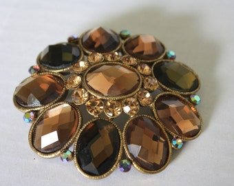 Vintage Amber Brown Rhinestone Faceted Brooch or Pendant