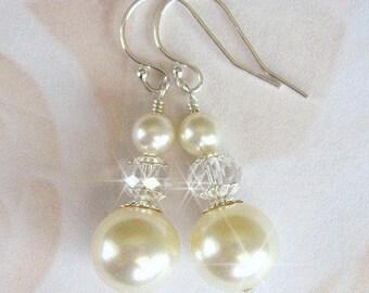 Pearl and Crystal Bridal Earrings, Pearldrop Bridal Wedding Earrings in White or Ivory, Wedding Jewelry,  Swarovski Pearls and Crystals