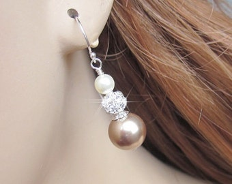 Champagne Pearl Earrings, Pearl and Rhinestone, Mother of the Bride, Maid of Honor, Bridesmaid Gift, Bridesmaid Jewelry, Wedding Jewelry