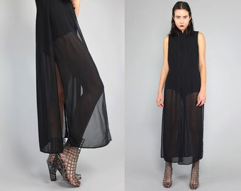 Vtg Black Sheer Oriental Asian Crop Top Duster Vest  S