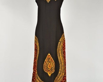 ON SALE Vintage 1980s INDIA Gorgeous Maxi Ethnic Batik Embroidered Sundress