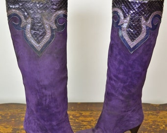 ON SALE TALL Leather Boots: Purple Suede Boots // 80S // Andrea Pfister // Designer Boots // Suede Snakeskin // Tall Suede Boots