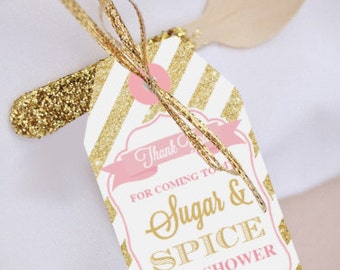 Sugar And Spice Baby Shower Favor Tags   Sugar And Spice   Girl Baby Shower