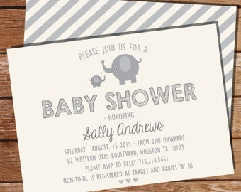 Gray Elephant Baby Shower Invitation for a Boy or Girl - Grey Elephant Invitation - Instant Download and Edit File at home with Adobe Reader