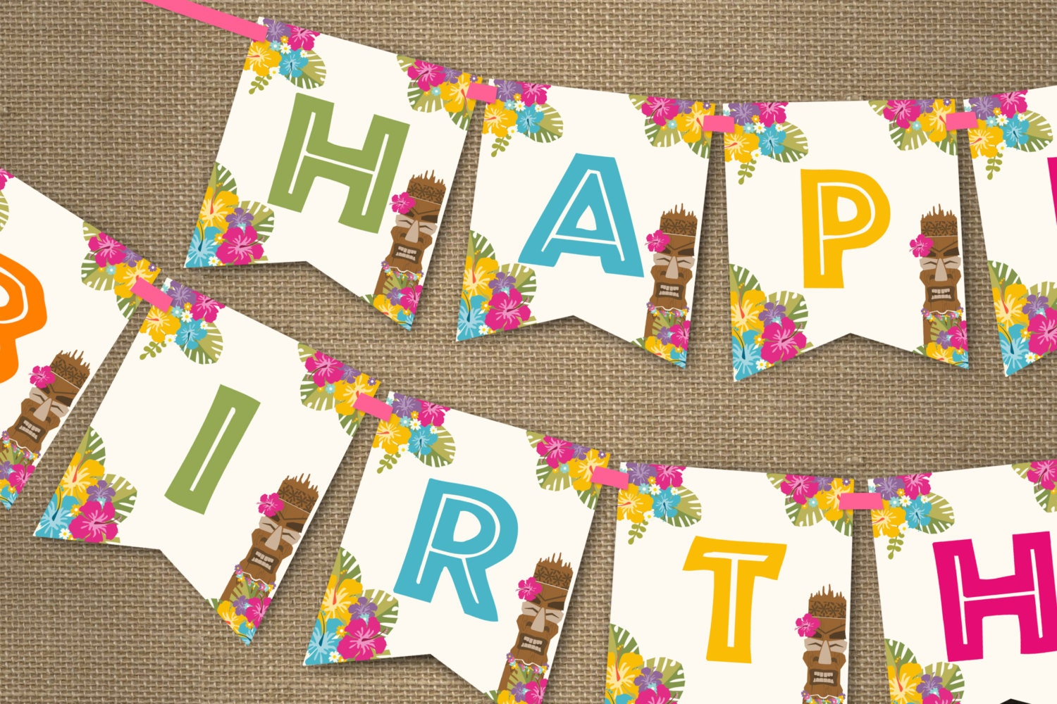 luau party banner hawaiian party birthday banner instant