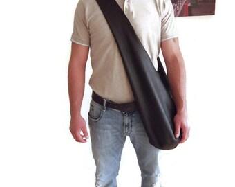 Leather Shoulder Bag, Crossbody Bag, Boho Sac, Hobo Bag, Leather Tote, Full Grain Italian Nappa, Men Bag, Women Bag, Black