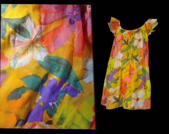 Vintage Mod 60s Night Gown Orange Abstract Print Chiffon Babydoll Nightgown