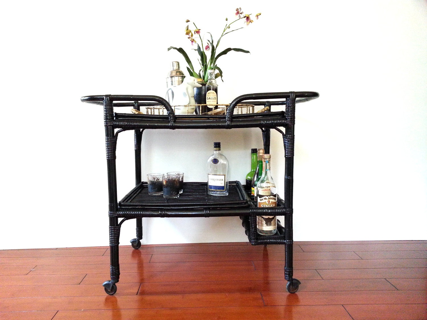 Black Bar Cart Vintage Mid Century Rattan Bamboo Tea Cart