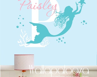 Mermaid Wall Decal   Nursery Wall Art   Custom Wall Art Decal   Girl Name  Decal