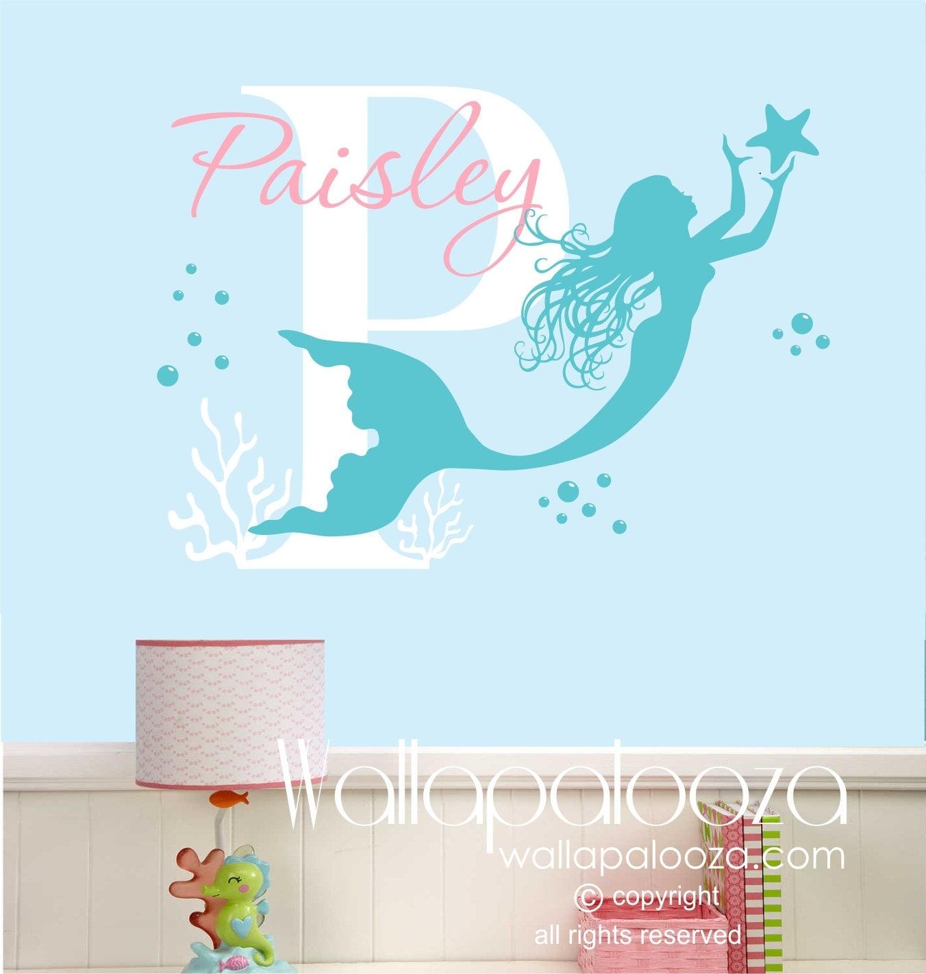 Mermaid Wall Decal Nursery Wall Art Custom Wall Art Decal