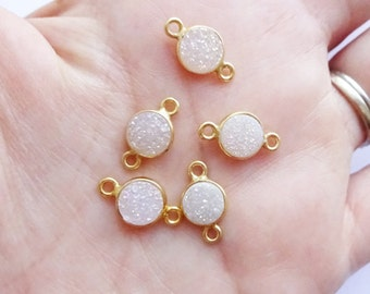 Gold Vermeil Bezel Connector with Druzy Rainbow Stone  -- 1 Piece -- 8mm Link