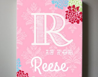 Initial Baby Name Nursery Decor Canvas Art - Girls wall art - Floral canvas art, Baby Girl Nursery Art , Pink