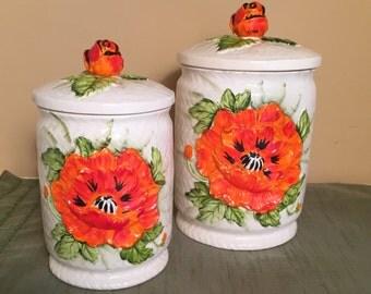 Lefton Japan Canister Set Orange Poppy Ceramic Canister Set