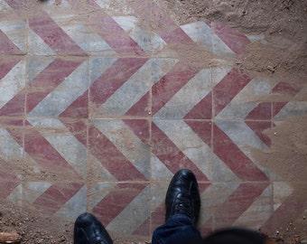 antique concrete cement tiles floor op art geometric red grey