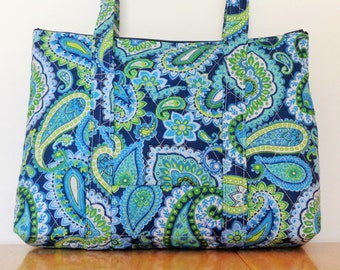 Navy Light Blue Lime Green Teal White Paisley Print Quilted Purse
