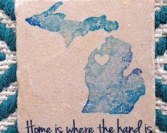 Set of 4 Custom Tumbled Tile Coasters with Cork backing, heart goes wherever you want!