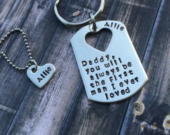 You will always be the first man i loved ...Daddy/Daughter Keychain, Necklace Set - Father's Day Gift - His and Hers Personalized Keychain/