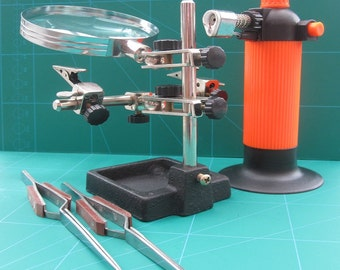 Butane Gas Soldering Torch Heavy Duty Helping Hands with Magnification and Tweezers Set