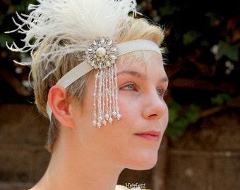 Swingin' Silver Gatsby headband, flapper headband, white 1920s headpiece, 1920s headband, Gatsby headpiece, jazz age lawn party, jalp2017
