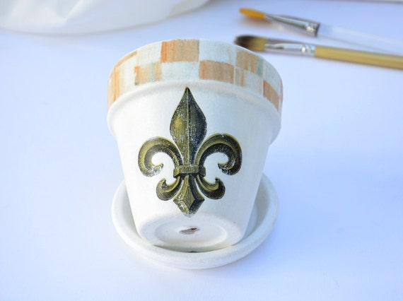 Flower Pot, Fleur De Lis Shabby Chic Flower Pot , Terra Cotta Pot ...
