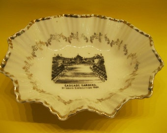 St. Louis Exposition 1904 World's Fair Antique Souvenir Pin Dish, Cascade Gardens, Made in Austria