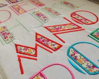 Machine Embroidery Broadway Applique Font