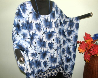 BLUE DAISY PRINT Tunic for Plus Size - Big blue flowers and daisy chain border with fringe - Wear with denim, navy, white or black all year