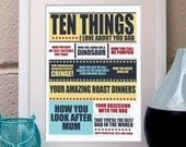 Personalised Father's Day Gift - Ten Things I Love About Dad art print