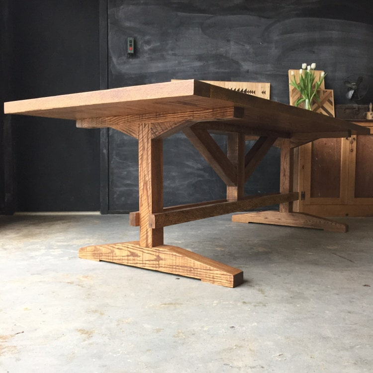 Solid Reclaimed And Rough Sawn Red Oak Farm Dining By