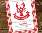 Crawfish Invitation, Birthday Invitation, Birthday Invite, Crawfish Boil, Cajun, Dinner, Red and White Checkered - Custom Digital File