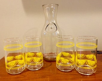 1950's Set of 4 Orange Juice Glasses
