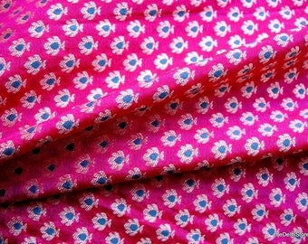 Pure Silk Floral Brocade Fabric in Fuchsia and Gold Color Sold by Half Yard