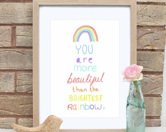 A4 You Are More Beautiful Rainbow Print