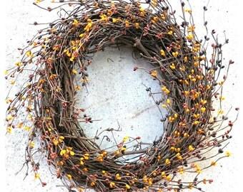 Burgandy, Brown and Orange Berry Wreath, Primitive Wreath, Fall Wreath, Berry Wreath, Autumn Wreath, Autumn Decor, Fall Wreaths,Orange Decor