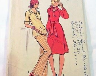 "1970s Boho A Line Raglan Sleeve Dress, Top, Pants and Belt pattern Butterick 4312 Size 16.5 Bust 39"" UNCUT"