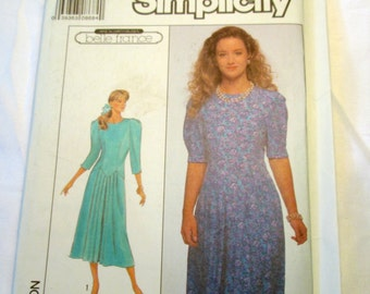 "1980s Drop Waist dress sewing pattern Simplicity 9091 Size 12 bust 34"" UNCUT FF"