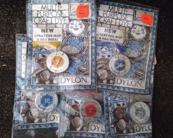 Vintage Lot of 5 Dylon Multi Purpose Craft Dye Mop Rag Dolls Blue Grey Red Yellow