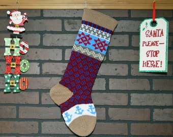 Americana Christmas Stocking, Hand Knit with Tan Cuff, Cherry Red Stars and Blue Anchors, Fair Isle Stocking, can be personalized, Gift