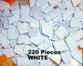 Broken China, China Tiles, Mosaic Supplies, Jewelry Supplies, Hand Cut, White China, 220 Pieces